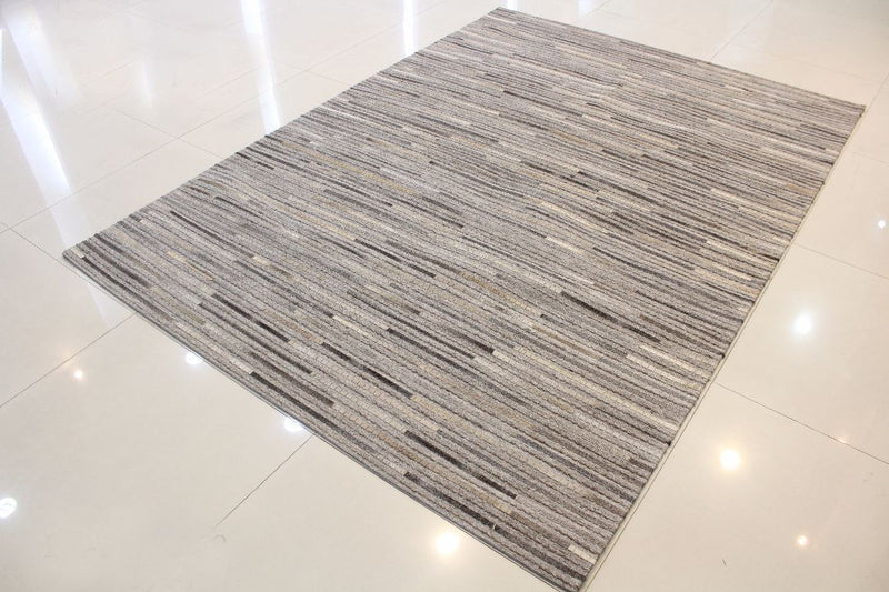 Metric Grey Striped Carpet - Casa Suarez