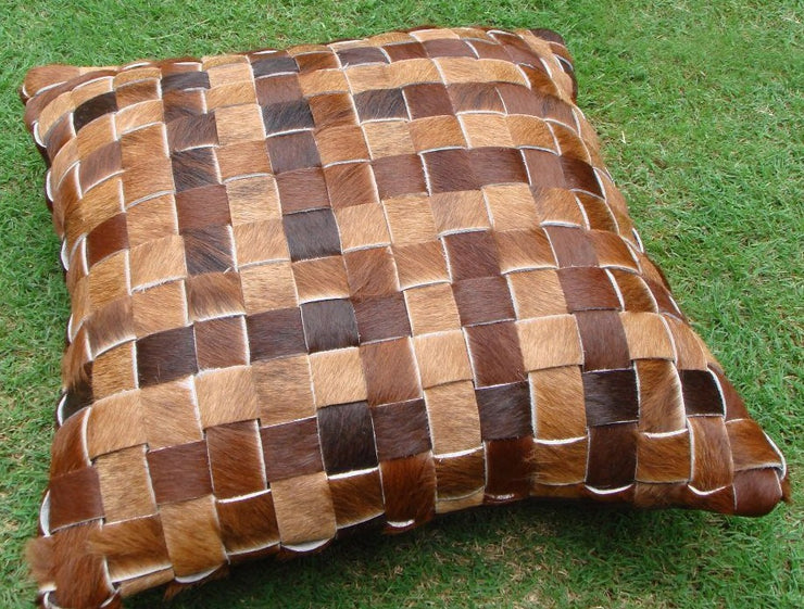 Woven Leather Cushion - Casa Suarez