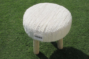 Indie White Leather Pouf - Casa Suarez