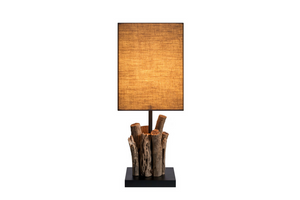 Mini Perifere Table Lamp with Brown Cotton Shade - Casa Suarez
