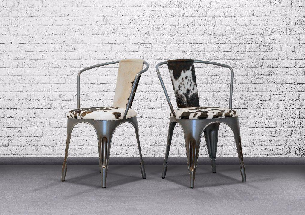 Indie Metal Chair Cow Skin With Armrest - Casa Suarez
