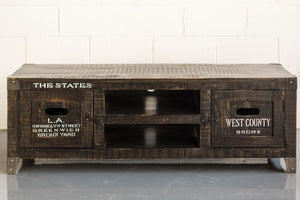 States Tv Unit with Recycled Wood and White Printing - By Casa Suarez