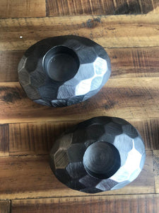 Linus Chiseled Brushed Pebble Tealight Holder - Casa Suarez