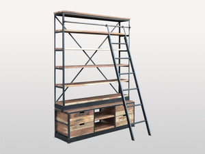 Industrial Bookcase Wood and Metal with Ladder - Casa Suarez