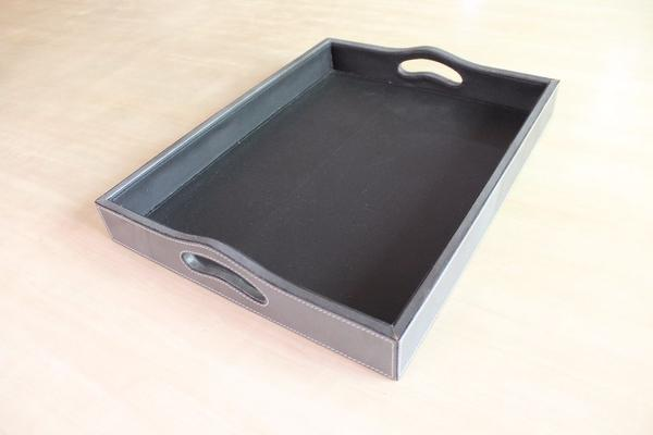 Grey Leather Tray with Handles - Casa Suarez