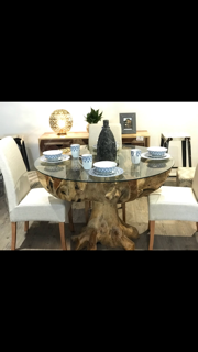 Teak Root Dining Table With Glass Top - Casa Suarez