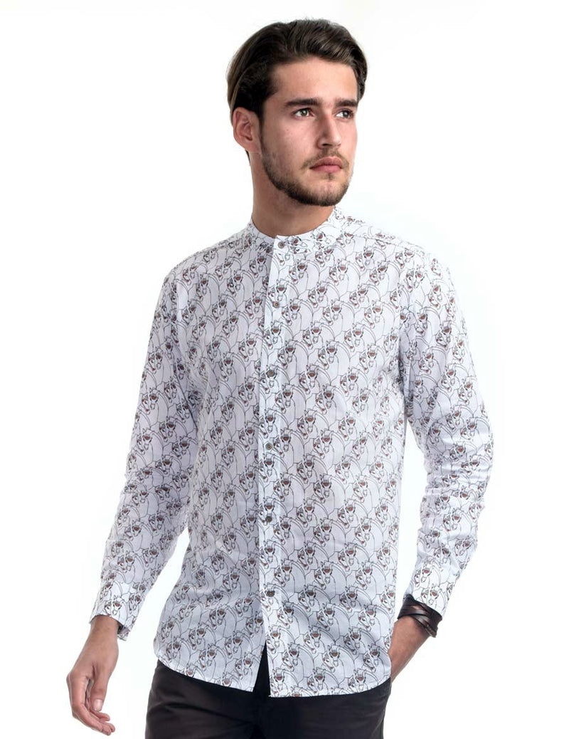 Twin Horse Band Collar Shirt - Casa Suarez