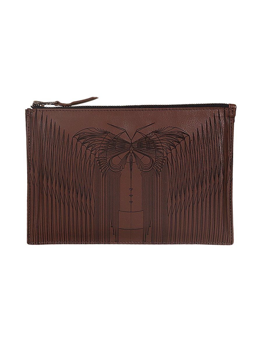 Zipper Clutch Leather Butterfly - casa-suarez-panama