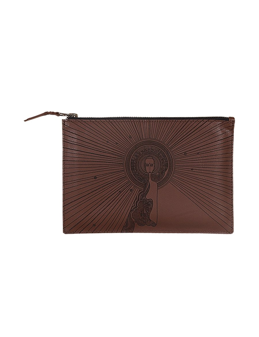 Zipper Clutch Leather Tribal - casa-suarez-panama