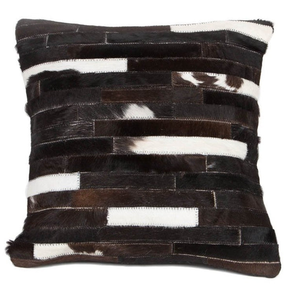 Metric Black and White Stripe Leather Cushion - Casa Suarez