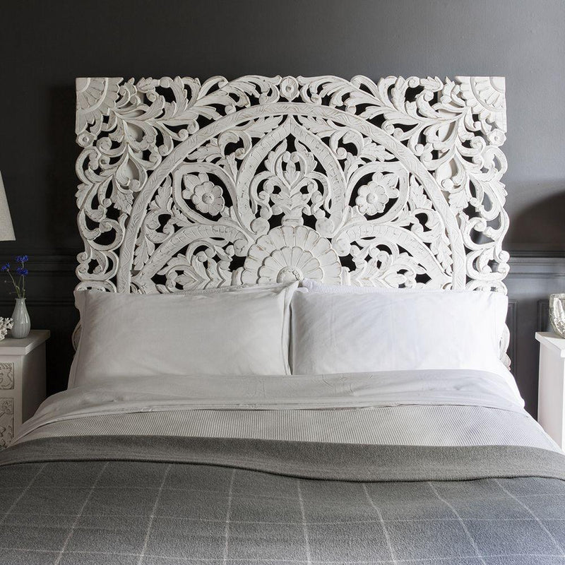 Indian Headboard White Carved Mango King - Casa Suarez