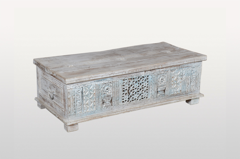 Antique Chest White Blue - Casa Suarez