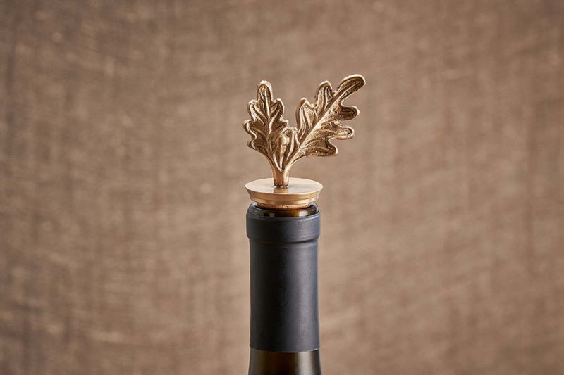 Oak Leaf Brass Bottle Stopper