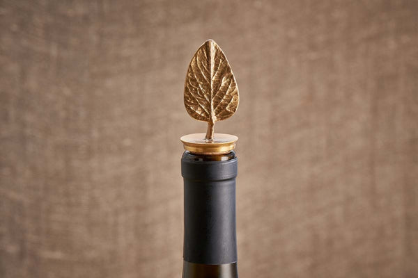 Poplar Leaf Brass Bottle Stopper