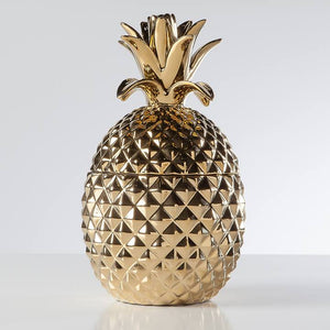 Pineapple Gold Crown Gold Ceramic Canister - Casa Suarez