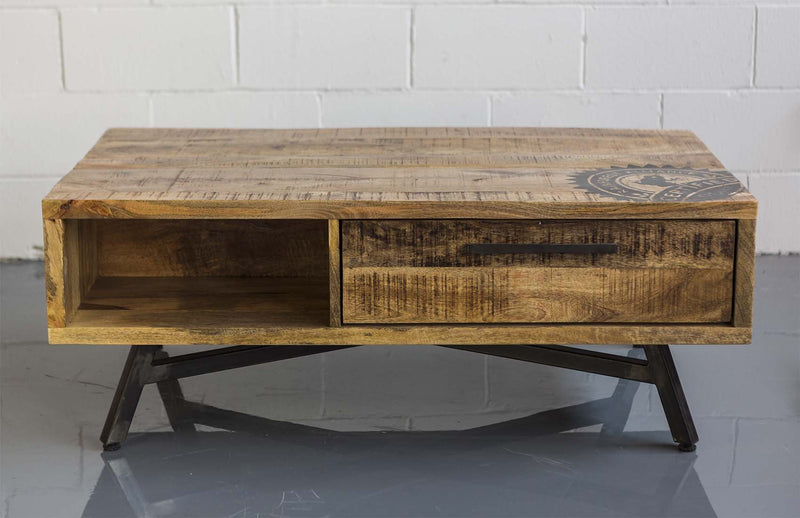 Industrial Coffee Table with Pipe Base - Casa Suarez