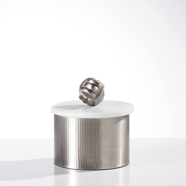 Tomar Antique Pewter Ribbed Canister - Casa Suarez