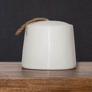 White Ceramic Jar With Twine Pull