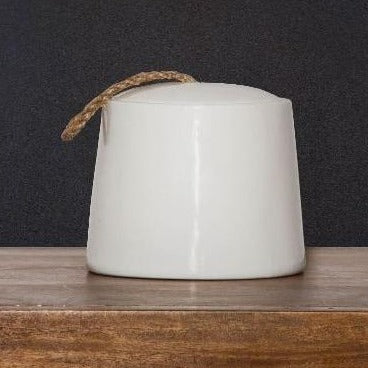 White Ceramic Jar With Twine Pull - Casa Suarez