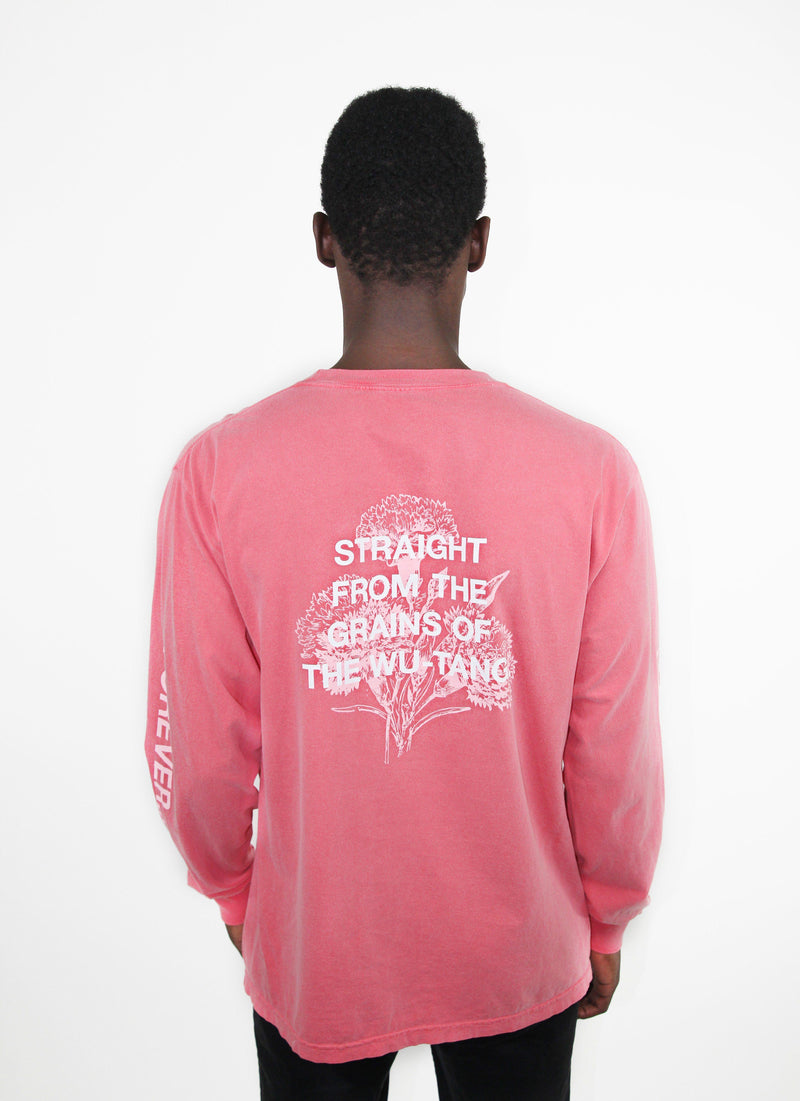STRAIGHT FROM THE GRAINS LONG SLEEVE SHIRT - CORAL - Wu Wear