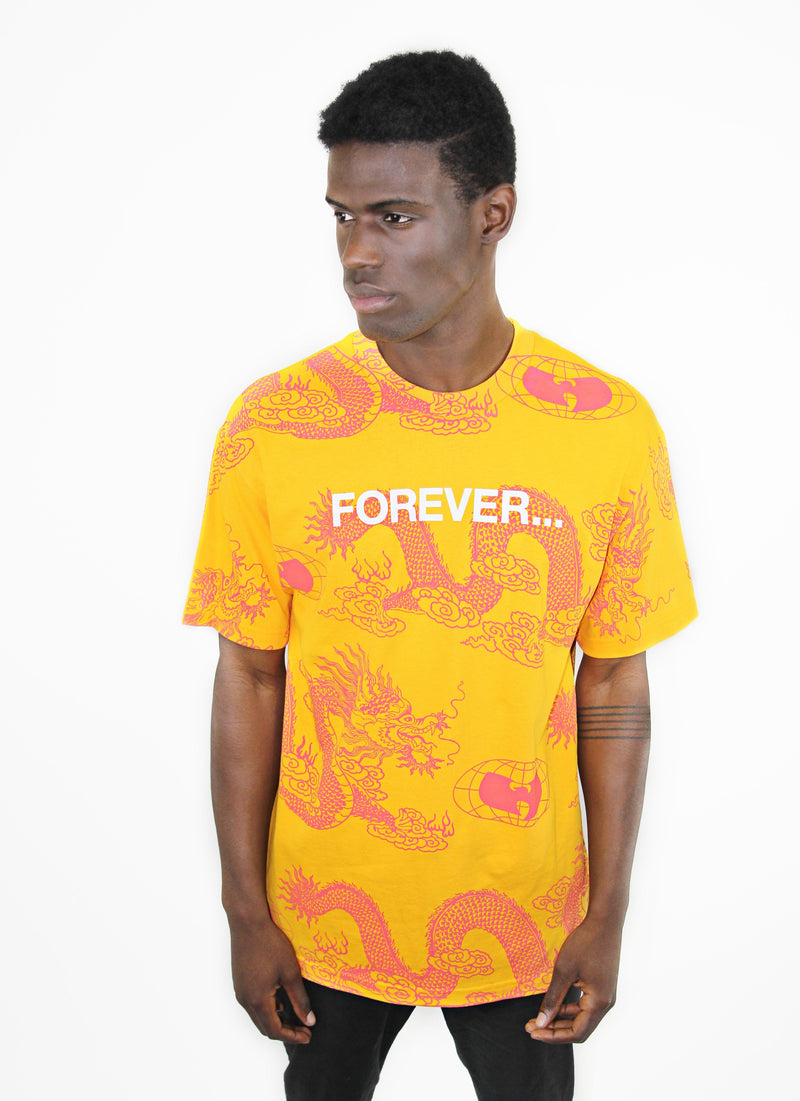 FOREVER DRAGON PRINT TEE - YELLOW - Wu Wear