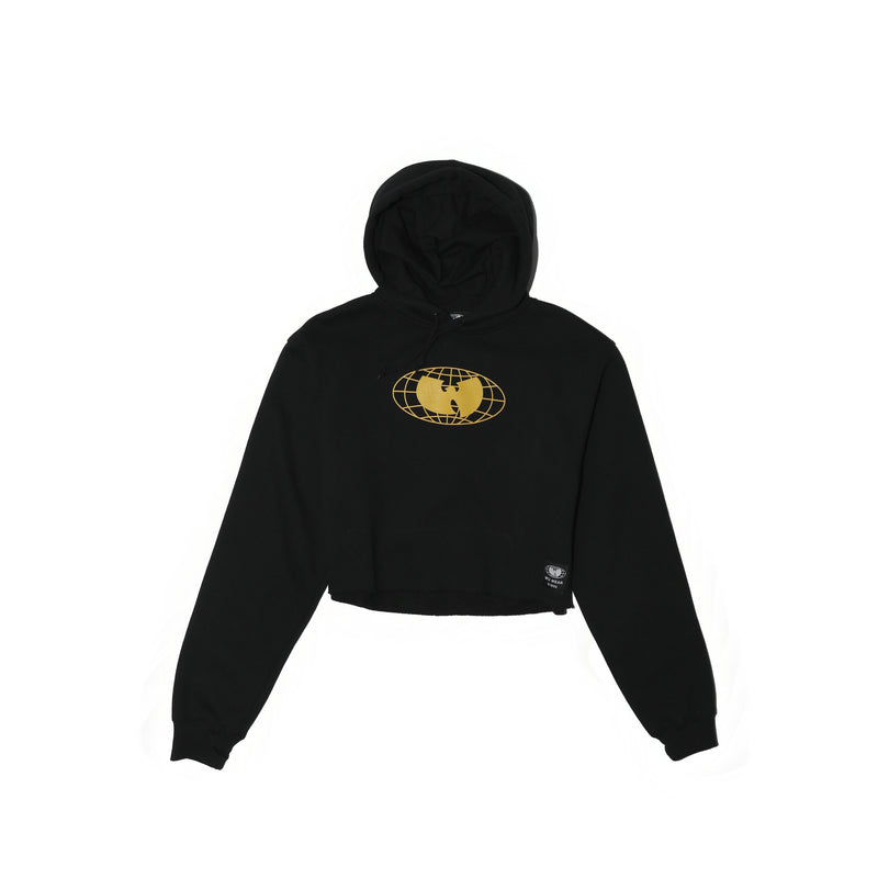 GRAINS CROPPED HOODIE - BLACK - Wu Wear