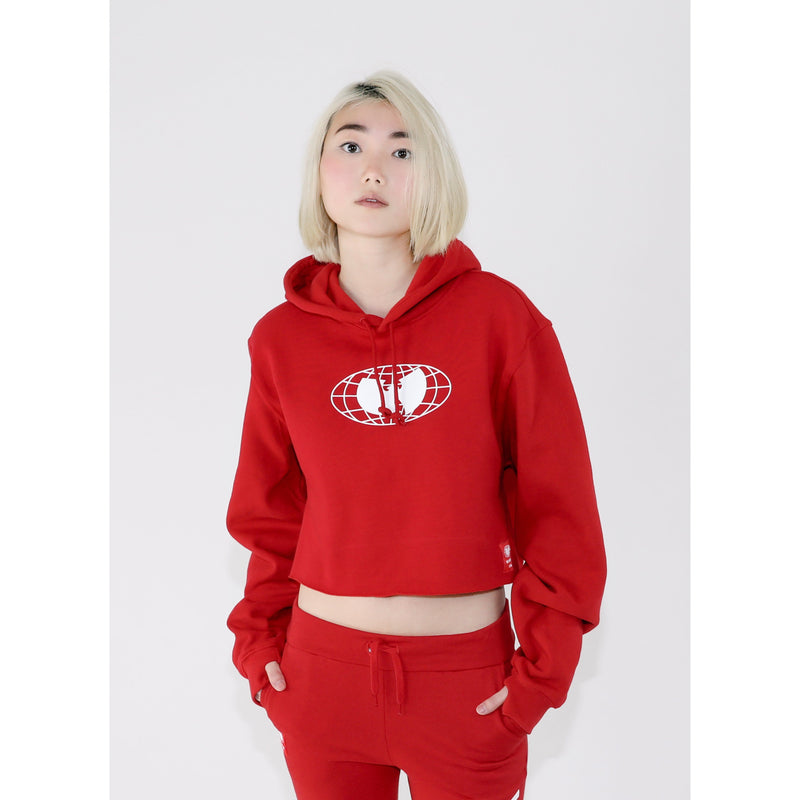 GRAINS CROPPED HOODIE - RED - Wu Wear