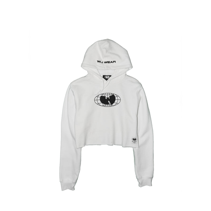 GRAINS CROPPED HOODIE - WHITE - Wu Wear