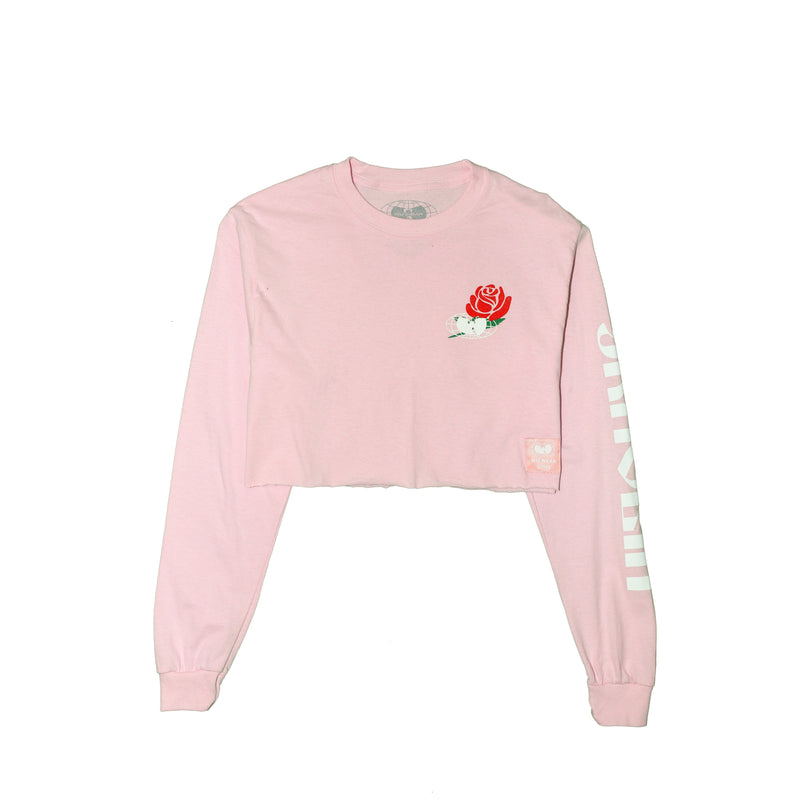 SHAOLIN CROPPED LONG SLEEVE TEE - PINK - Wu Wear
