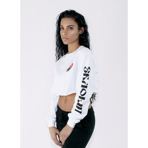 SHAOLIN CROPPED LONG SLEEVE TEE - WHITE - Wu Wear
