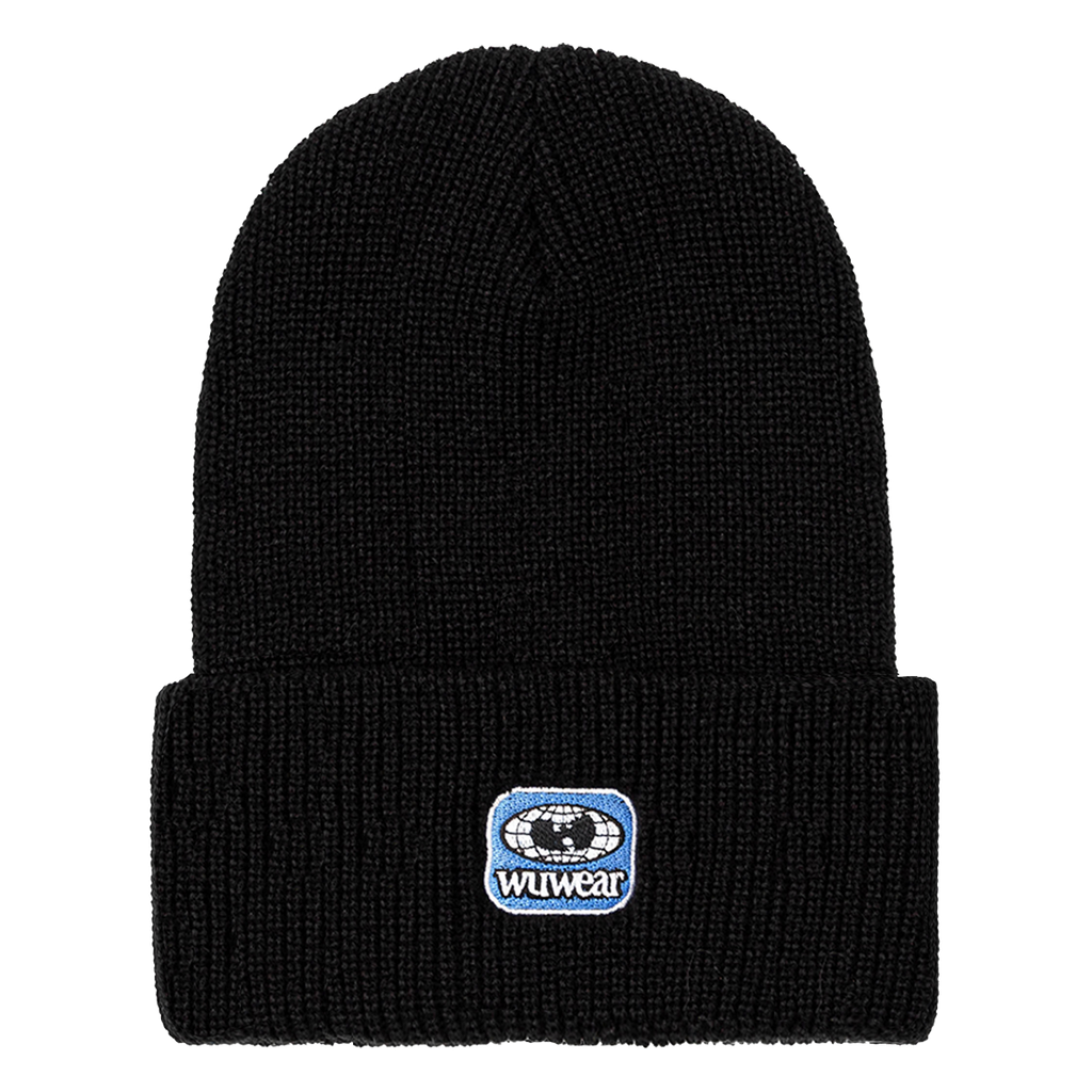Drip Embroidered Patch Beanie - Black