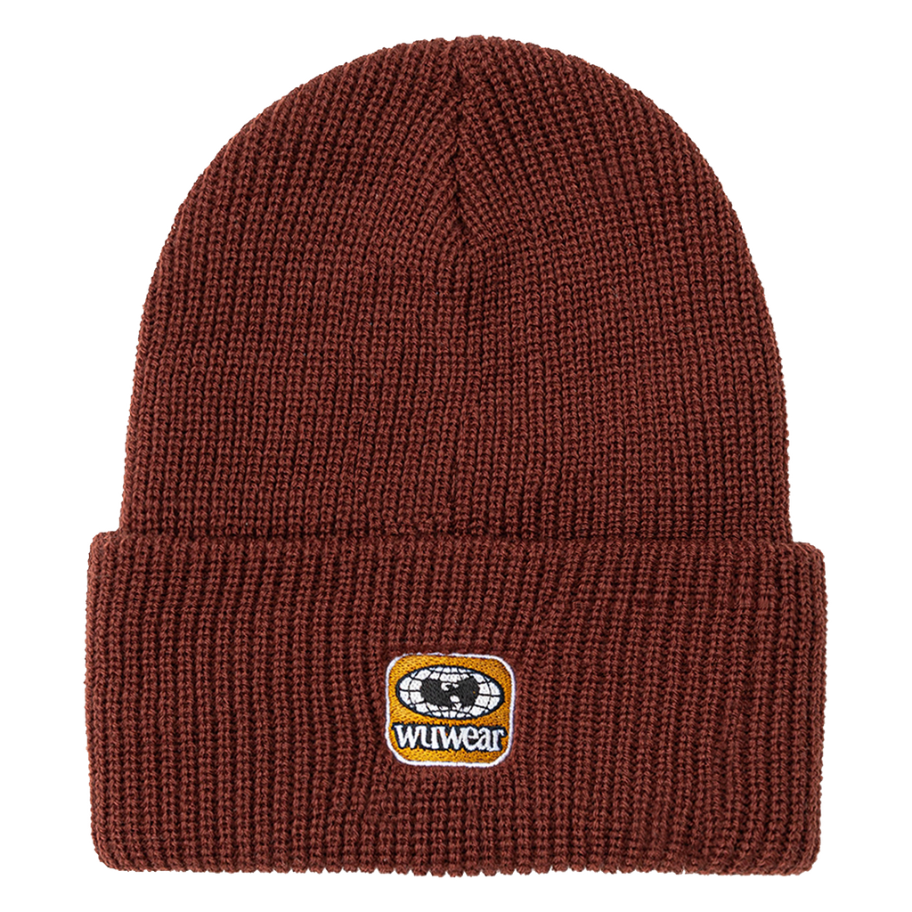 Drip Embroidered Patch Beanie - Maroon