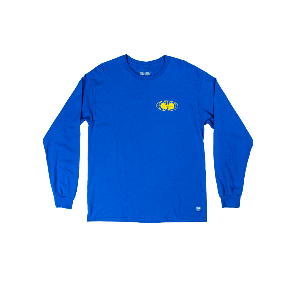 GLOBE LOGO LONG SLEEVE SHIRT - BLUE - Wu Wear