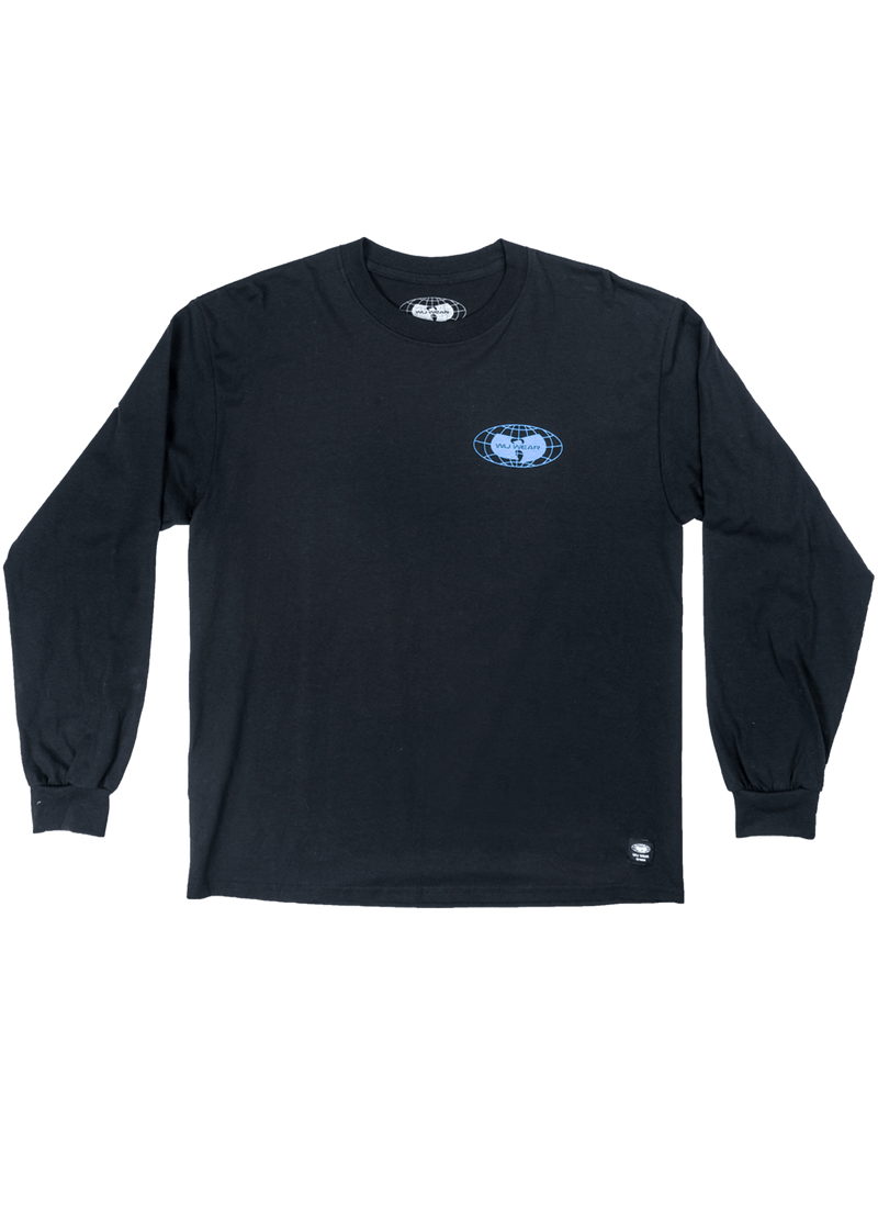 GLOBE LOGO LONG SLEEVE SHIRT - BLACK - Wu Wear