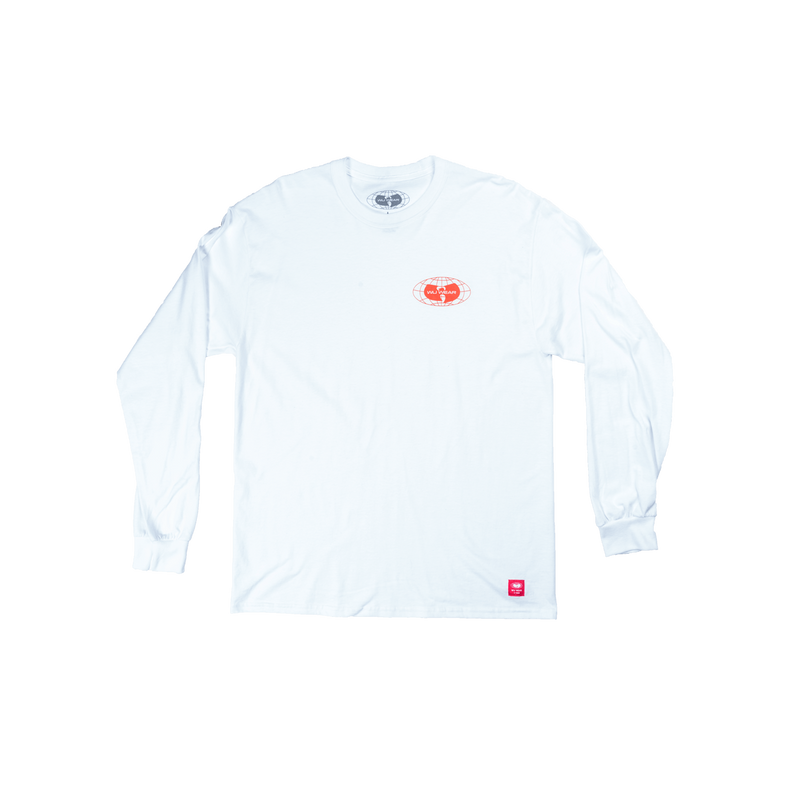 GLOBE LOGO LONG SLEEVE SHIRT - WHITE - Wu Wear