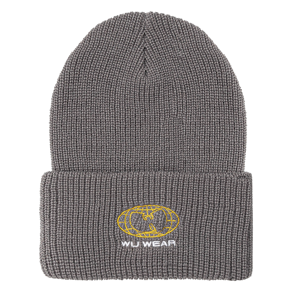 Wire Globe Embroidered Beanie - Grey