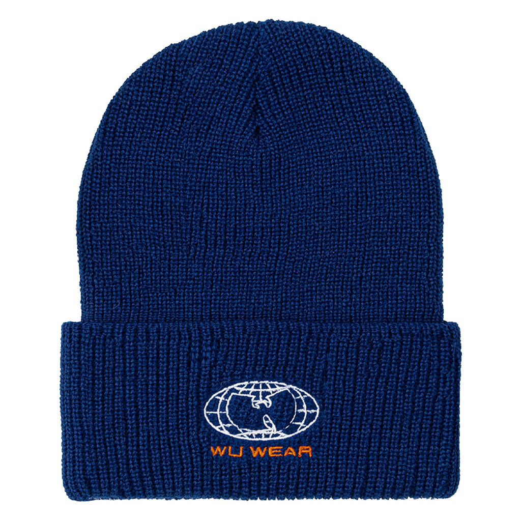 Wire Globe Embroidered Beanie - Navy