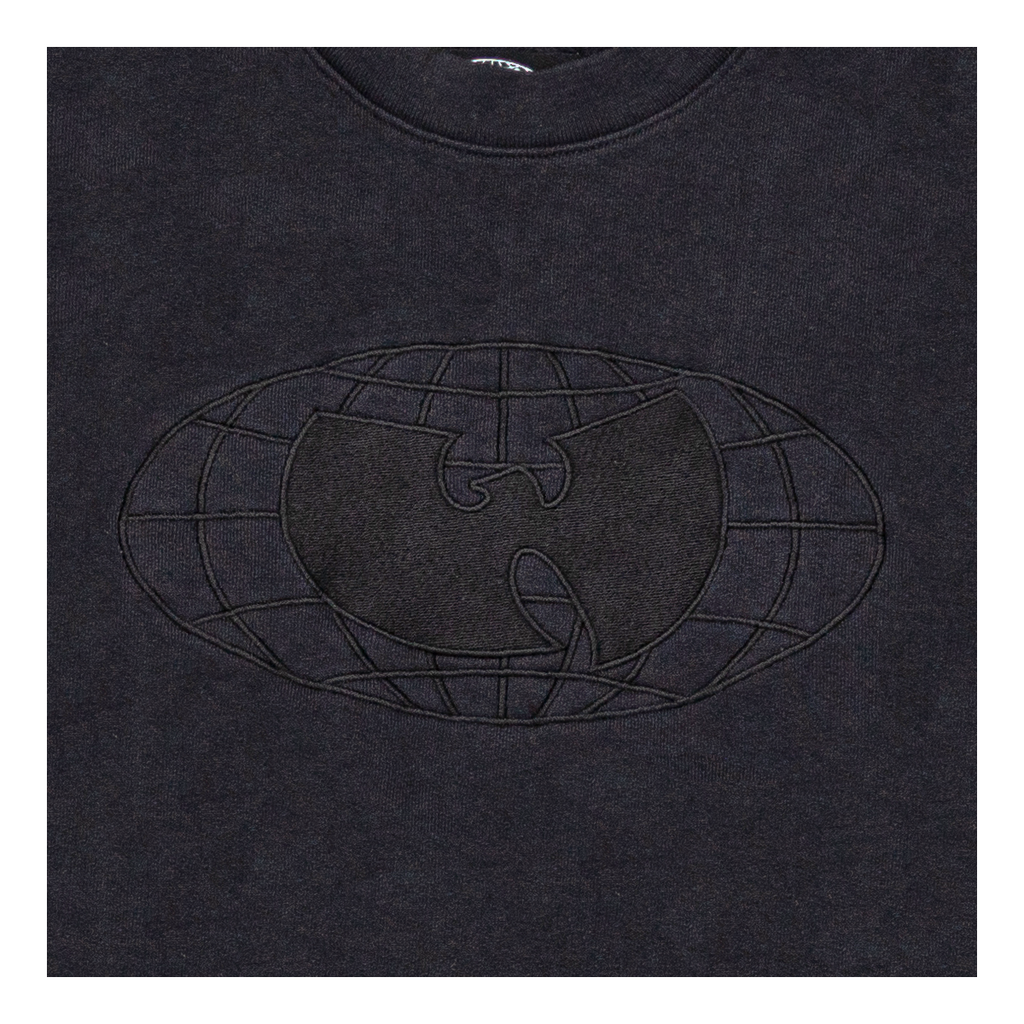 Wu Globe Embroidered Crewneck Sweatshirt - Black