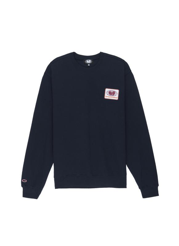 PATCH CREWNECK SWEATSHIRT - NAVY - Wu Wear