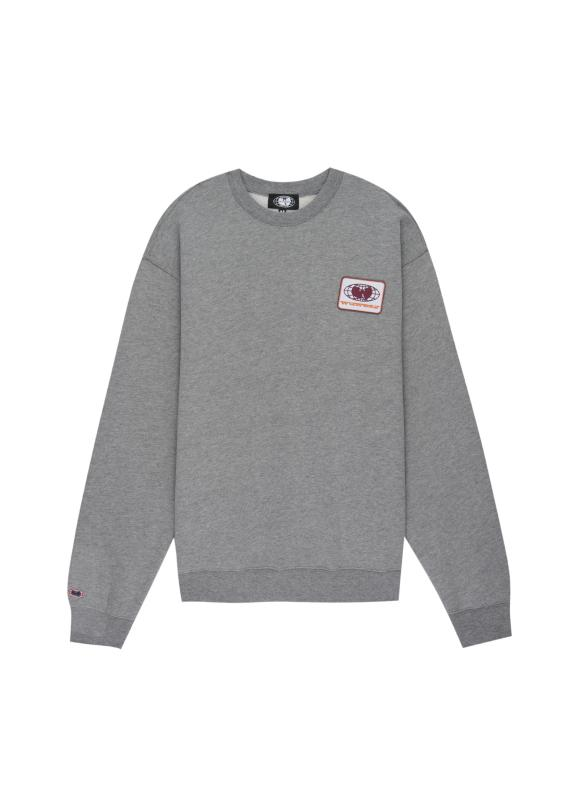 PATCH CREWNECK SWEATSHIRT - GREY - Wu Wear