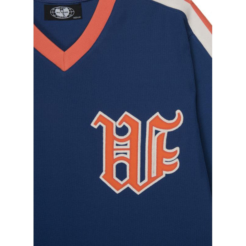 VARSITY W BASEBALL JERSEY - BLUE - Wu Wear
