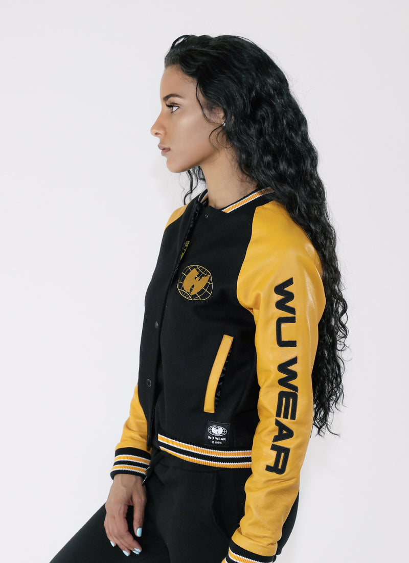 Women S Wu Wear Varsity Jacket Black And Gold Wu Wear