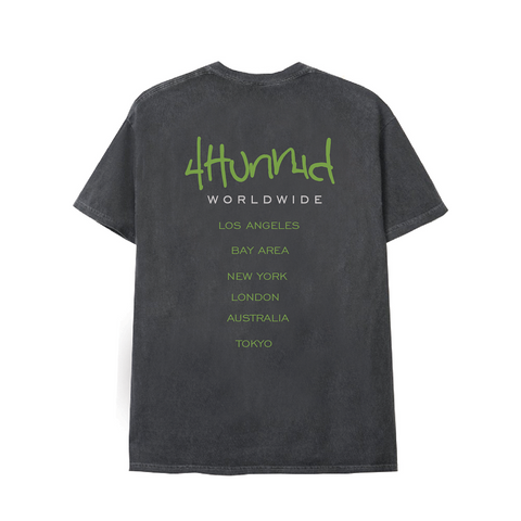 4hunnid Worldwide Tee - Washed Black