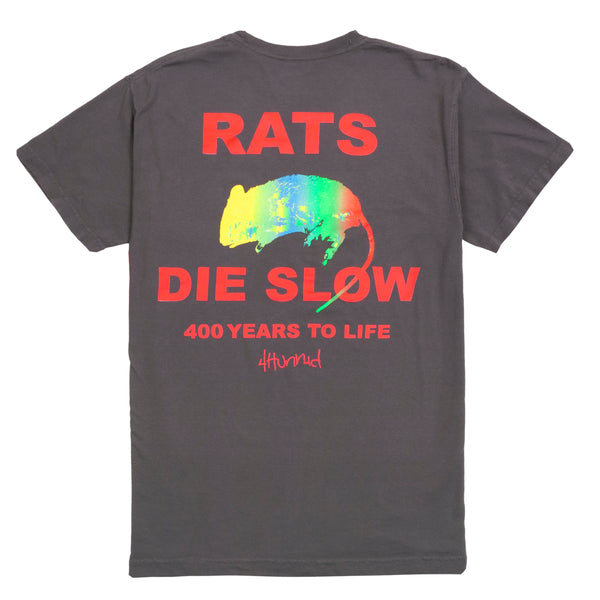 Rat's Die Slow Tee - Washed Black - 4Hunnid
