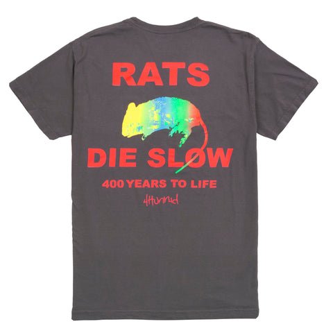Rat's Die Slow Tee - Washed Black-4Hunnid