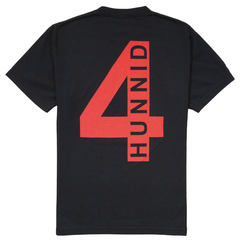 4 Back T Shirt - Black - 4Hunnid