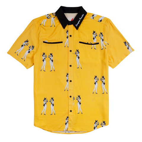 4Hunnies Button Up, Yellow - 4Hunnid