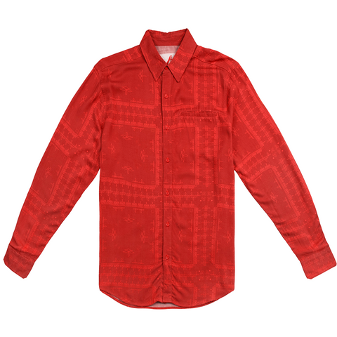 Playa Bandana Button Up, Red - 4Hunnid