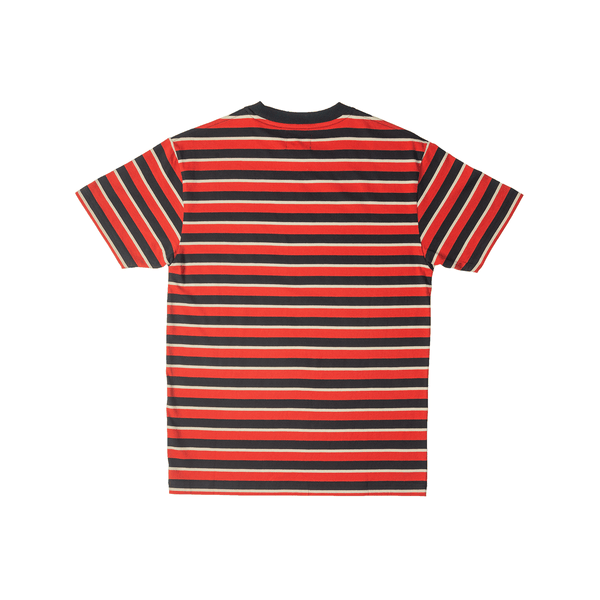 Striped 4Logo Tee - Red - 4Hunnid