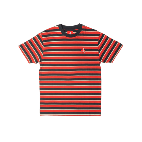 Striped 4Logo Tee - Red 4Hunnid